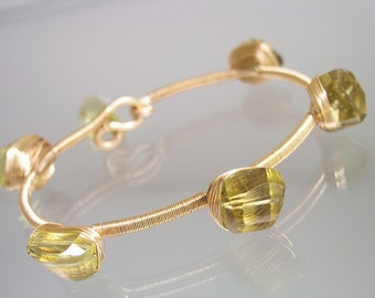 Lemon Quartz Gold Filled Bangle - Stackable Bracelet - Cosmopolitan - Chunky - Modern - Artist Made - Statement Jewelry - Original Design