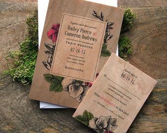 Storybook Floral Real Wooden Wedding Invitation
