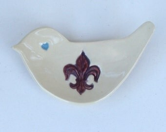 Valentine, Hand Built Ceramic Bird  Shaped Plate, Fleur-de-Lis