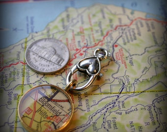 Charm Clip for your Map Pendants, In Silver with Small Heart