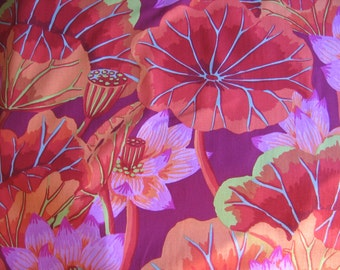 2 yards Lake Blossoms in red, from the Kaffe Fassett collection