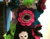 Skull Candy - Granny Square Scarf Cowl/Hood