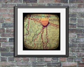 Map art print marry me Bologna Italy Italia candy heart custom engagement wedding anniversary gift wall decor