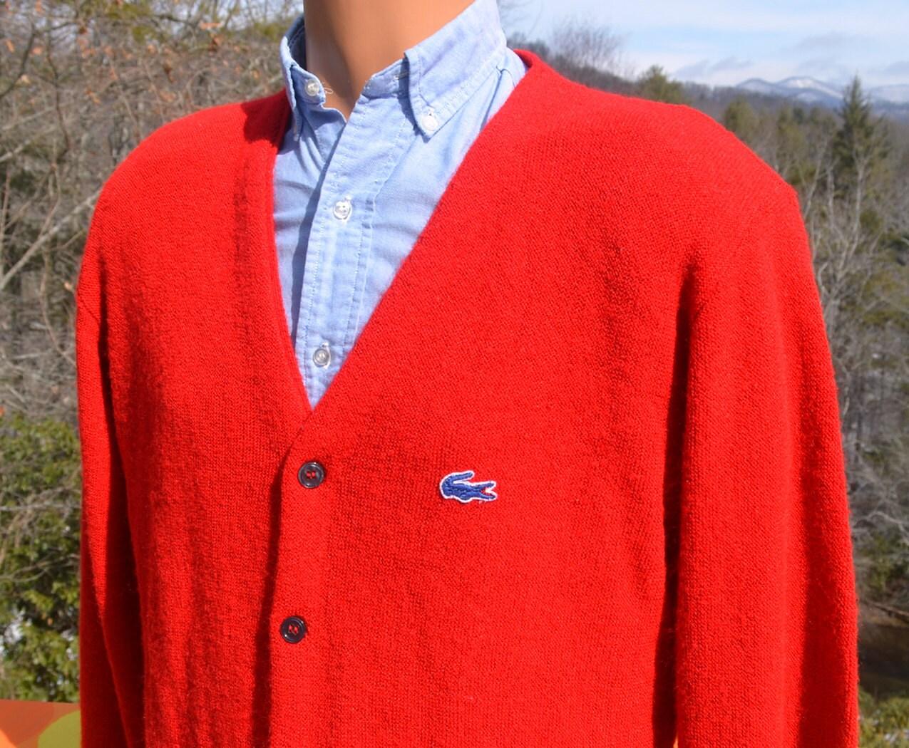 Knitting Patterns For Golf Jumpers : 70s vintage izod lacoste CARDIGAN sweater golf knit v-neck red