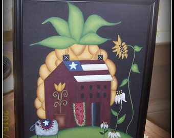 Primitive Americana Pineapple Satlbox House Sunflower 8 x 10 Framed Canvas Home Decor