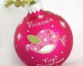 Holiday Edition Pink Birdie Ornament - Personalized