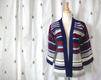NOW ON SALE!  Vintage 1970s Stripe Cardigan Chunky Knit Stripe Sweater, Navy, Red, Grey, White, Open Front, Bell Sleeves