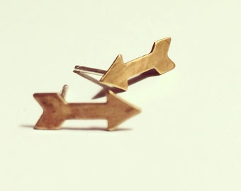 UPS AND DOWNS bronze and sterling post earrings