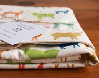 Deer, Elk Baby Blanket in ELK FAMILY MULTI, Colorful Organic Baby Blanket Gift, Woodland Receiving Baby Blanket for Newborn Girl and Boy