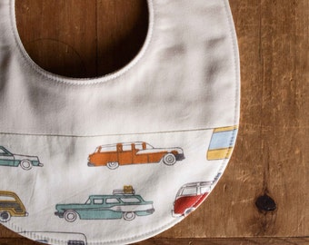 On Sale, save 25%; Organic Baby Bib in RIVER RALLY; Retro Campers, Trailers and Station Wagons Bib, New Baby Gift by Organic Quilt Company