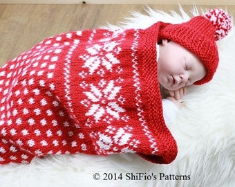 KNITTING PATTERN For Snowflake Baby Papoose, Cuddle Sac, Cocoon & Hat in 2 Sizes PDF 297 Digital Download