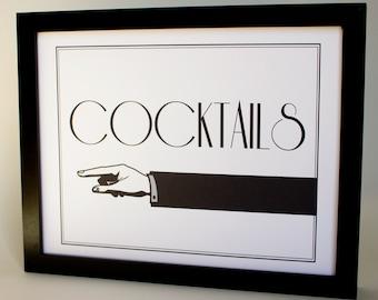 Cocktails Directional Sign Printable DIY Digital File PDF Wedding Reception Sign 8x10 Retro Formal
