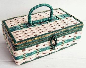 Dritz Green Aqua White Sewing Basket Woven Japan