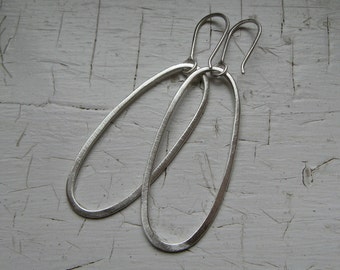 Sterling Silver Hammered Oval Hoops