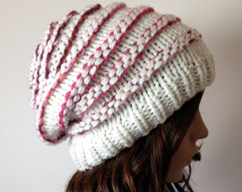 SALE Womens Knit Hat - Slouchy Beanie, cream with Pink ribs, Chunky, winter, ski