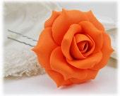Orange Rose Hair Pin - Orange Rose Hair Clip, Orange Rose Bobby Pin, Orange Rose Bridal Hair Pin, Orange Rose Wedding Hair Pin