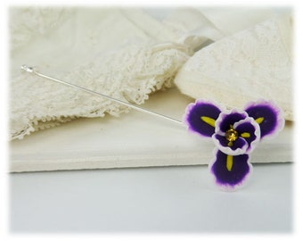 Purple Iris Stick Pin - Iris Flower Jewelry, February Birthday Birth Flower