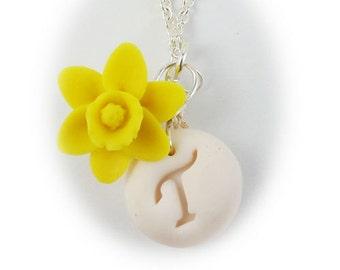 Personalized Daffodil Initial Necklace - Daffodil Jewelry, March Birthday Birth Flower, Spring Flower Jewelry