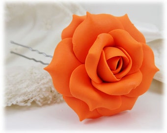 Orange Rose Hair Clip Pin - Orange Hair Flower