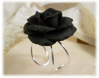 Large Black Rose Ring - Black Rose Jewelry Collection, Black Flower Ring