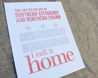 Washington DC Letterpress Print - The City of Northern Charm and Southern Efficiency