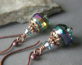 Rainbow Crystal Earrings, Slate Blue Earrings, Carnival Glass Earrings, Blue Green Copper Dangle, Rainbow Teal Earrings