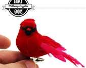 1 - Small - Red Cardinal - Fake Bird - Artificial Bird - Mushroom Bird - Feathers - Christmas Ornament