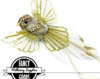 1 - Gold Sequin/Glitter - Flying Fake Bird - Artificial Bird - Craft Bird - Feathers - Millinery - Christmas Ornament Clip