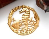 BRASS (2 Pieces) Round SEAHORSE Under The Sea Brass Stampings  - Jewelry Findings (E-26) #