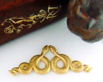 BRASS Double Motif SNAKES Stamping ~ Jewelry Ornament Findings (C-509) #