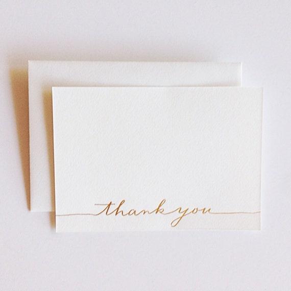 Gold Foil Letterpress Thank You Notecards - Set of 10