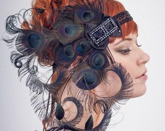 Licorice Nymph Black Peacock Feather Flapper Headband