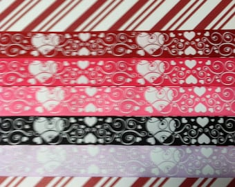 "7/8"" Heart Ribbon 5 yds Ribbon by the Yard Valentine Ribbon Grosgrain Ribbon White Heart Ribbon Love Ribbon Wedding Ribbon Swirl Ribbon"
