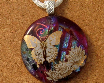 Dichroic Glass Pendant - Butterfly Pendant - Fused Glass Pendant - Dichroic Jewelry - Fused Glass Jewelry