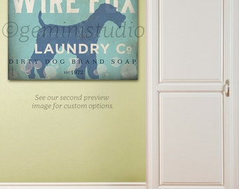 Wire Fox Terrier dog Laundry Company illustration graphic art on gallery wrapped canvas by stephen fowler