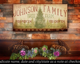 custom FAMILY name Christmas tree farm holiday graphic art on gallery wrapped canvas by stephen fowler