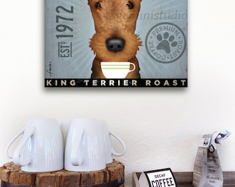 AIREDALE dog coffee company original graphic art illustration on gallery wrapped canvas by stephen fowler
