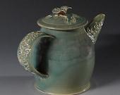 Ceramic Teapot with Wildflowers in Aquamarine Celadon