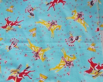 Vintage Flannel Fabric Juvenile Indians on Horseback PJ or Quilt 3-1/4 yards by 34 wide 50s