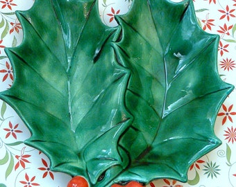 Vintage Christmas Holly Leaves Dish - Perfect for serving, entertaining, decorating and gift giving