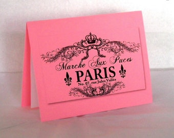 Blank Note Card Hot Pink Paris Flea Market French Note Card and Envelope