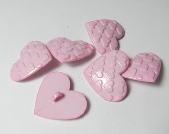 Pink Hearts on Heart Novelty Buttons