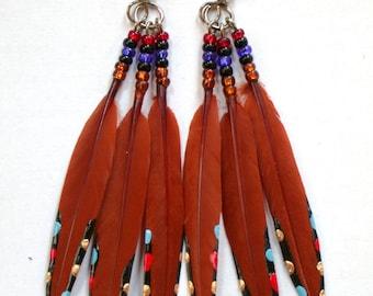 Santa Fe Feather Earrings-Bronze Painted Feather Earrings