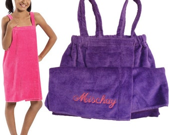 Girl's  Shower Wrap in Soft Terry Velour and Personalized with Embroidery