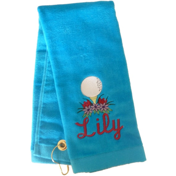 Embroidered Towels Custom: Custom Embroidered Personalized Golf Towel For Her