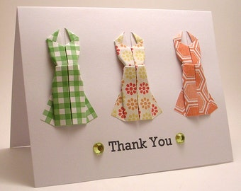 Origami Dress Thank You card (citrus)