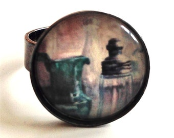 Still life  Ring - Antique glass photo Painting