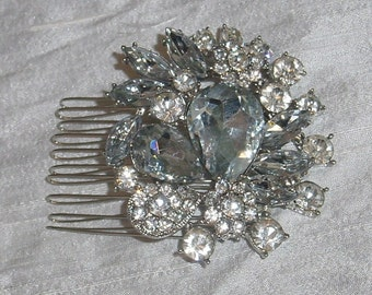 Wedding Silver Hair Comb Rhinestone Accessory Bride or Bridesmaid