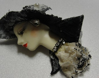 Lady in Black Paper Mache Brooch  REDUCED