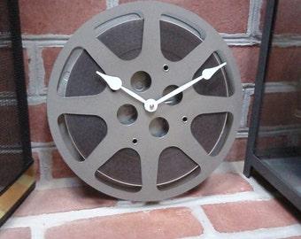 "Vintage Film Reel Clock - FREE SHIPPING - Repurposed and Upcycled Film Reel Wall Clock - 10"" Diameter"